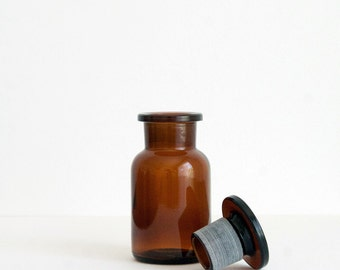100 ml (3.4 fl oz) Amber Apothecary Jar, Round Czech Glass