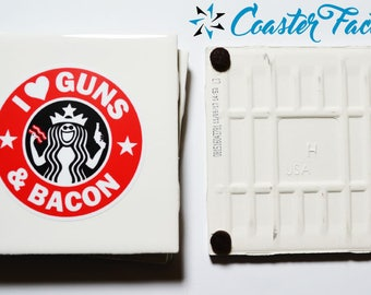 """Love Bacon?  Guns and Bacon Table Coasters 4 per set made from Ceramic Tiles 4"""" x 4"""""""