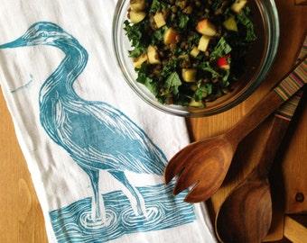 wood block print great blue heron tea towel by color.joy.