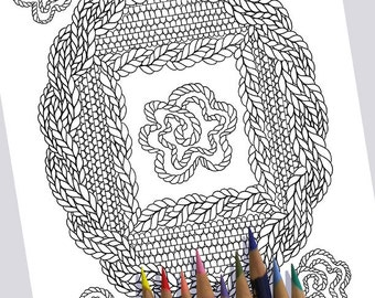 KNIT OVAL FRAME Coloring Page / Printable Coloring Page / Drawing of Knitting / Pdf Oval Frame Art