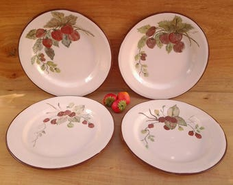 Vintage fruit enamelware plates - glamping - graniteware - lunch plates - strawberry plates - berry plates - salad plates - fruit plates