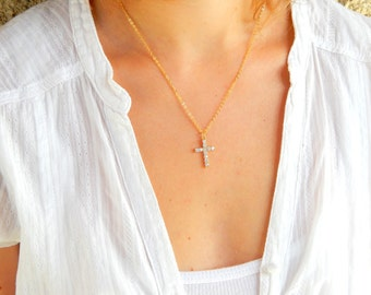 Cross necklace, gold necklace, crystal cross necklace, swarovski cross necklace, swarovski crystal cross shinny cross religious necklace 172