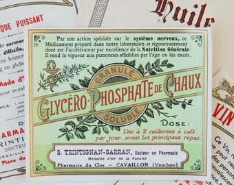 French vintage pharmacy labels