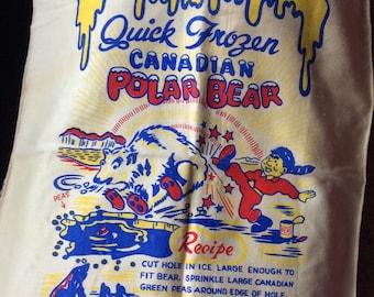 VINTAGE TEA TOWEL, alaska kitsch, bar prop, canadian highway, polar bear, recipe fun