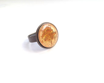 "Shiny vintage button ring ""Luludja"""