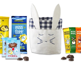 Vegan gift basket etsy scrumptious bunny basket filled with moo free gluten free vegan negle Image collections