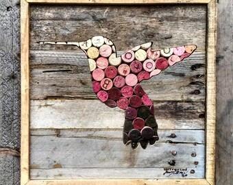 Humming Bird - Salvaged Wine Cork - Reclaimed Wood - Natural Wall Art