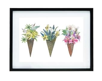 Three flowers in icecap horizontal mini print   aquarel   Melkenie   poster   fashion   art on the wall   A4