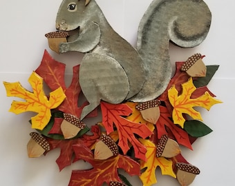 A Most Befuddling Thing (Squirrel and leaf wall hanging)
