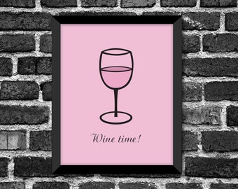 Modern Wine Glass Art Print / Great Gift for any Occasion / Kitchen Décor / Choice of color