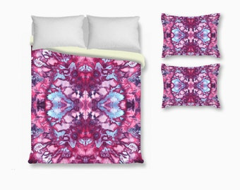 Tie Dye Duvet Cover with Pillow Sham-Purple Blue Pink-Tie Dye Bedding-Twin Queen King Set-Bedding Set