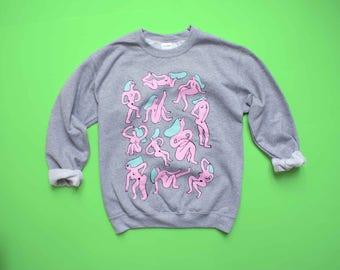 Grey NAKED LADIES Sweatshirt! Three Color Screen Print!