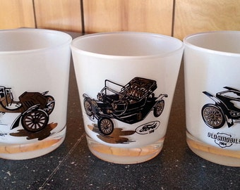 3 Hazel Atlas Classic Automobile White Glasses - Roly Poly Small Drinking Glasses - Ford, Oldsmobile and Rambler