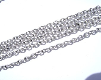 Chain Antiqued Silver ptd 3x2mm Oval Cable Links, 15 feet.