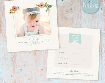 Photography Gift Certificate Template Photoshop file - VC004 - INSTANT DOWNLOAD