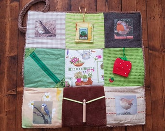Fidget Blanket for Alzheimer's or Dementia - Autumn Days. Garden birds twiddle quilt, ideal gift for gardeners.