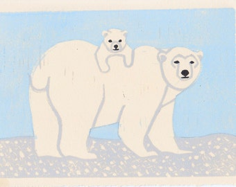 Polar Bears Hand Carved Linocut Illustration Art Print 5 x 7 Winter, Blue, White