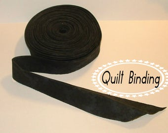 Traditional Quilt Binding -  Black Stars Tone on Tone