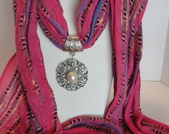 Fushcia Scarf with Pendant under 25