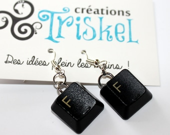 F earring made with computer keyboard button
