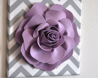 """Wall Flower Decor -Lilac Rose on Gray and White Chevron 12 x12"""" Canvas Wall Art- Flower Wall Art"""