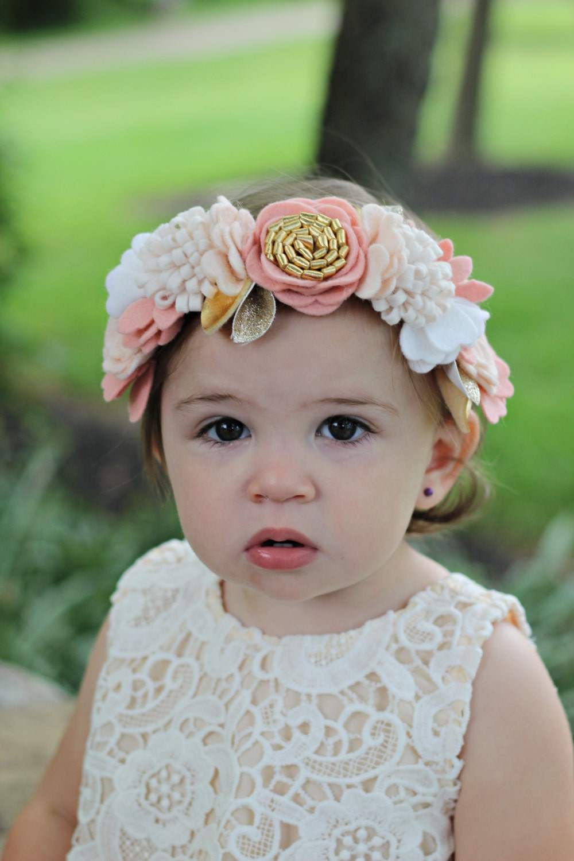 Wool felt flower crown in off whitevintage pinkand zoom izmirmasajfo