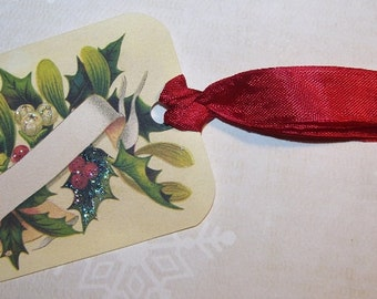 Christmas Place Card Tags Christmas Holly Placecards Vintage Style Set of 6 or 9