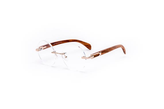 Vintage Wood Collection Round Rimless Glasses Gold Frame