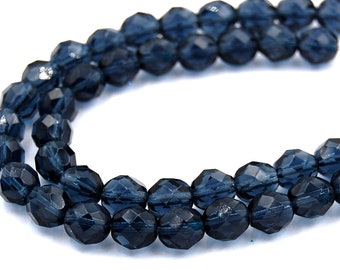 50pc 8mm Montana Blue Czech 8mm Fire-polished Faceted Round Beads