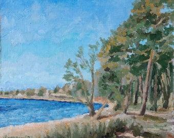 Sunny Winter Day Stories Gulf Finland Winter Beach Tallinn Baltic Sea Bay - Original Estonian Seascape Oil Painting  Fine Art Russian Artist