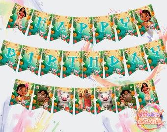 Moana banner for DOWNLOAD,  Moana party printable, Moana decorations, Moana party supplies, Baby Moana birthday decor, Moana party favor