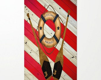 Nautical Area Rug-Throw Rug-Faux Wood -Welcome Aboard -Red White