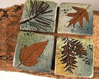 "Backsplash Accent Ceramic Tile kitchen bath Rustic Cabin bungalow tree leaves 1.75"" and larger options"
