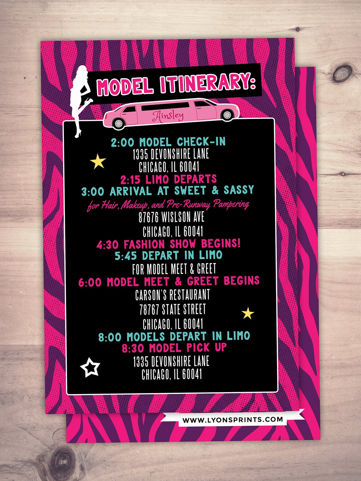 Itinerary, Limo party, Rock the Runway, Limo, sleepover birthday ...