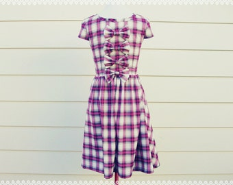 Rag and Bows Plaid Dress - Bow Back Dress, Fall Autumn Plaid Dress, OOAK Plaid Dress, Size Small