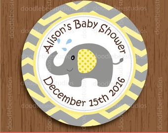 Personalized Elephant Favor Tags, Elephant Baby Shower Tags, Elephant Labels, Elephant Party Printables, Baby Shower Printables