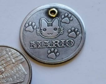 HandmadeA31-Free Shipping-Cat Tag -Cat ID Tag - Cat Name Tag - Handmade BRASS-Copper-Nickel Silver- Pet Tag 3-D IMAGE