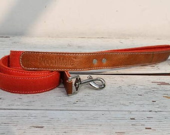 PoochMate Leather Felt Dog Leash - Burnt Orange