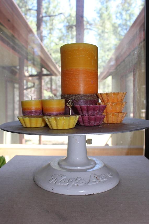 All The Cake! Layered 100% Palm Pillars or votives or melts-Red Velvet, Carrot & Lemon Bunt Cake Scents-Pick a size