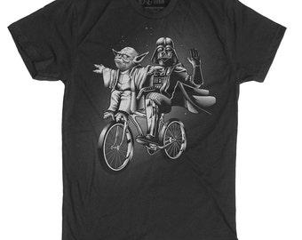 Star Wars Shirt -Yoda Shirt - Darth Vader and Yoda Riding a Bike Hand Screen printed on a Mens t-shirt - Mens Darth Vader Shirt - Yoda Shirt