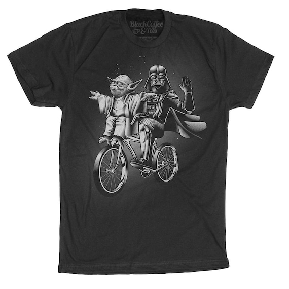 Star Wars Shirt -Yoda Shirt - Darth Vader and Yoda Riding a Bike Hand Screen printed on a Mens t-shirt - Mens Darth Vader Shirt - Yoda Shirt