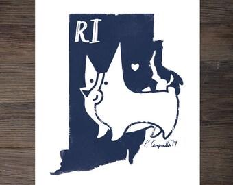 Rhode Island Corgi Art Print