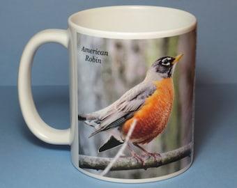 American Robin Coffee Mug, bird mug, bird coffee mug, bird lover gift, birder gift, birdwatcher gift