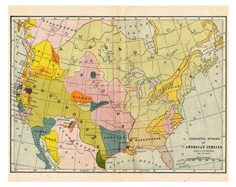 map of America, 'Linguistic Stocks of American Indians', printable digital download no. 581