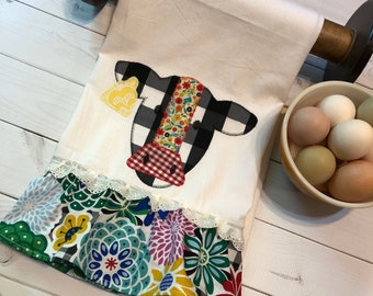 Free Shipping-Ready to Ship- Handmade Tea Towel-kitchen-cow -applique-embroidery- Mothers Day-farm life-