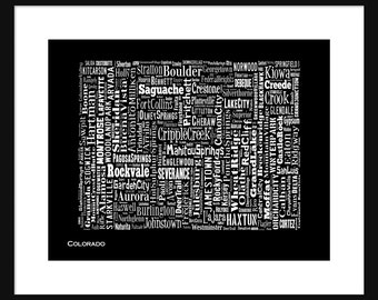 Colorado State Map Typography Map Poster Print Black