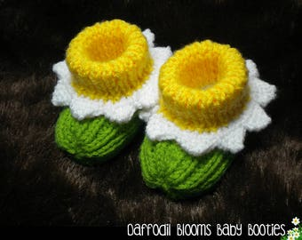 Daffodil Blooms Baby Booties Knitting Pattern