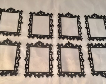 Tim Holtz Die Cuts * Ornate Frame #2 * Eight Frames * Cardstock * Sizzix 661195 * Black * White * Red *