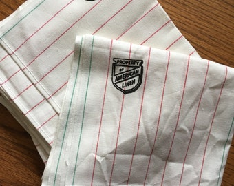 8 Unused Vintage American Linen Red and Green Striped Cloth Napkins