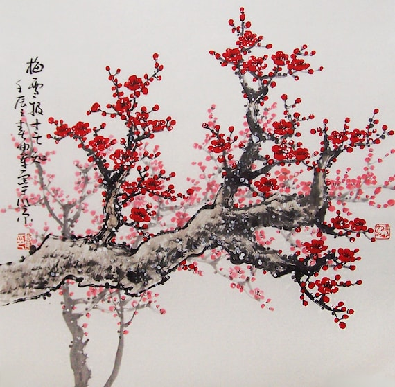 Original peinture art chinois arbre de belle fleur de cerisier - Dessin arbre chinois ...